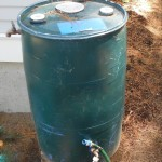A rain barrel can collect 55 gallons of water from a quarter inch of rainfall